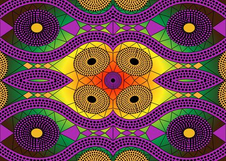 Illustration pour African Print fabric, Ethnic handmade ornament for your design, Ethnic and tribal motifs geometric elements. Vector texture, afro textile Ankara fashion style. Pareo wrap dress, batik, african carpet - image libre de droit