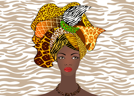 Ilustración de portrait of the young African woman in a colorful turban. Wrap Afro fashion, Ankara, Kente, kitenge, African women dresses. Nigerian style, Ghanaian fashion. Vector with zebra or tiger texture background - Imagen libre de derechos