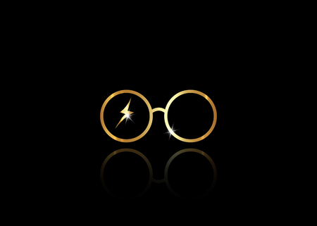 Ilustración de icon of a golden round glasses, minimal style, vector isolated on black background - Imagen libre de derechos