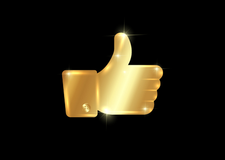 Illustration pour Thumb up symbol, golden finger up icon vector illustration isolated or black background - image libre de droit