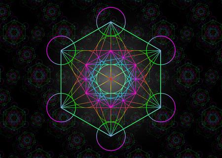 Illustration pour Metatrons Cube, Colorful Flower of Life. Sacred geometry - image libre de droit