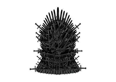 Illustration pour Hand drawn iron throne of Westeros made of antique swords or metal blades. Ceremonial chair built of weapon isolated on white background. Beautiful fantasy design element. Throne Vector illustration - image libre de droit