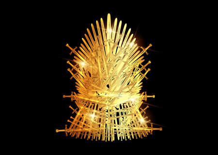 Illustration pour Hand drawn golden iron throne of Westeros made of antique swords or metal blades. Ceremonial chair built of weapon isolated on black background. Beautiful fantasy design element. Gold Throne Vector illustration - image libre de droit