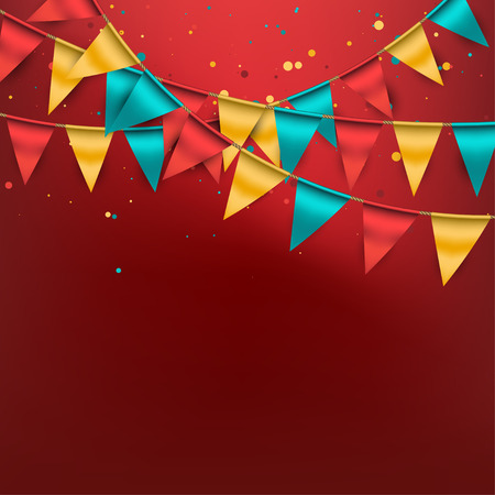 Illustration pour Festive Background with Buntings and Confetti - image libre de droit