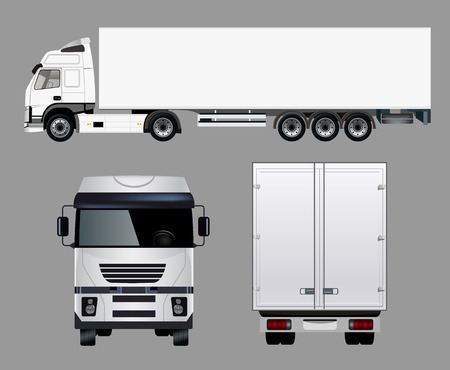 Illustration pour Commercial Truck from Four Angles - image libre de droit