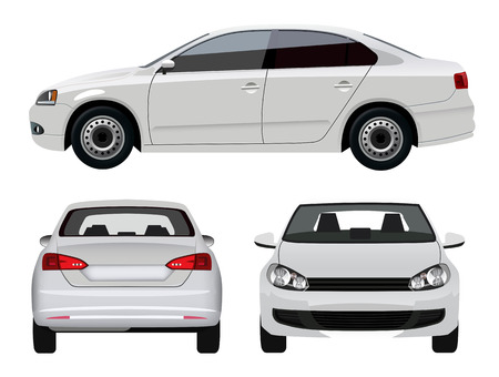 Illustration pour White Vehicle - Sedan Car from three angles - image libre de droit