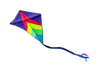 Photo pour Colorful kite flying isolated on white background - image libre de droit
