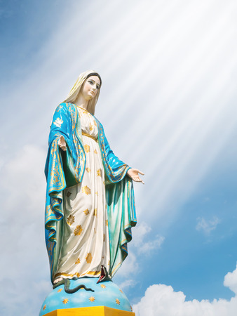 Photo pour Mary mother of Jesus at The Cathedral of the Immaculate Conception with soft lightray - image libre de droit