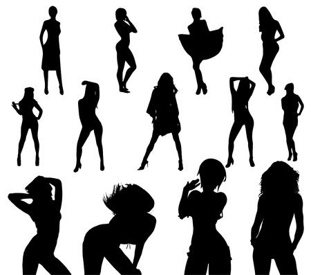 Ilustración de sexy girl black silhouette set vector on white - Imagen libre de derechos