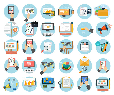Ilustración de Web design objects, business, office and marketing items icons. - Imagen libre de derechos