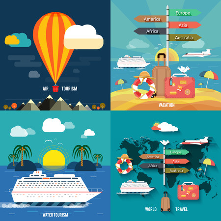 Ilustración de Icons set of traveling, planning a summer vacation, tourism and journey objects and passenger luggage in flat design  Different types of travel  Business travel concept - Imagen libre de derechos