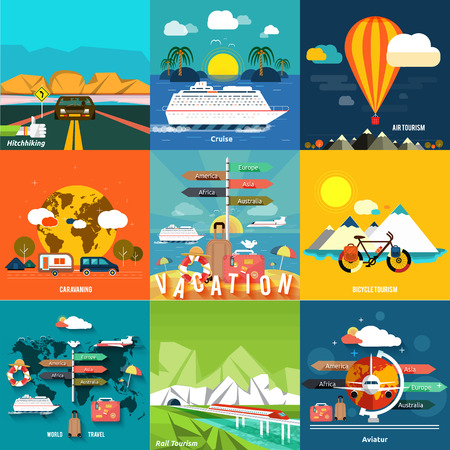 Illustration pour Icons set of traveling, planning a summer vacation, tourism and journey objects, hitchhiking and passenger luggage in flat design. Different types of travel. Business travel concept - image libre de droit