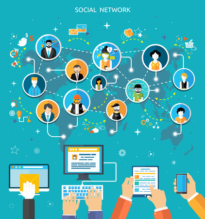 Ilustración de Social media network connection concept. People in a social network. Concept for social network in flat design. Globe with many different people's faces - Imagen libre de derechos