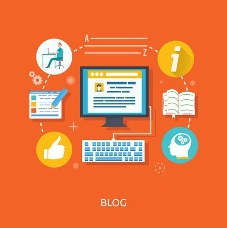 Ilustración de Blogging concept in flat design style. Blogging and writing for website blog - Imagen libre de derechos