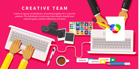 Illustration pour Creative team. Young design team working at desk in creative office flat design style - image libre de droit