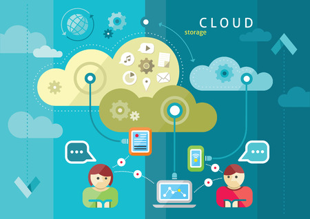 Ilustración de Cloud computing internet concept with a lot of icons tablet smartphone computer desktop monitor user downloads flat design cartoon style - Imagen libre de derechos