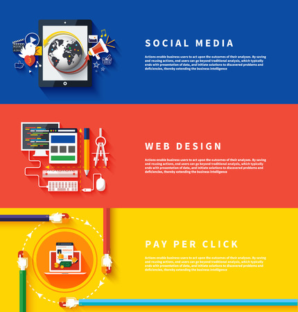Ilustración de Icons for web design, seo, social media and pay per click internet advertising in flat design. Business, office and marketing items icons. - Imagen libre de derechos