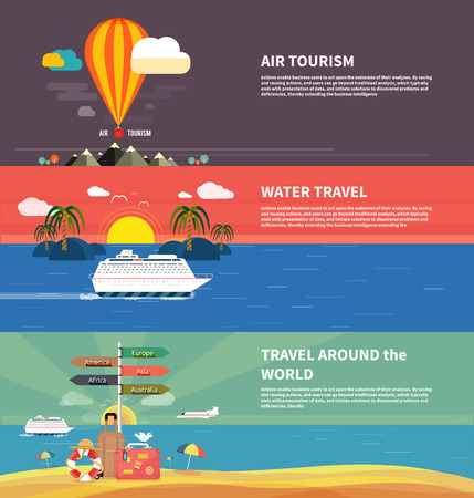 Photo pour Icons set of traveling, planning a summer vacation, tourism and journey objects and passenger luggage in flat design. Different types of travel. Business travel concept - image libre de droit