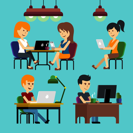 Illustration pour People man woman guy girl sitting on chair at table in front of computer laptop monitor and shining lamp cartoon flat design style - image libre de droit