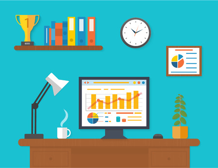 Ilustración de Modern office interior with seo desktop in flat design. - Imagen libre de derechos