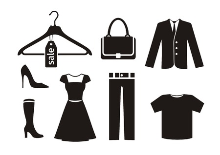 Illustration for Clothes icon set in black - Royalty Free Image