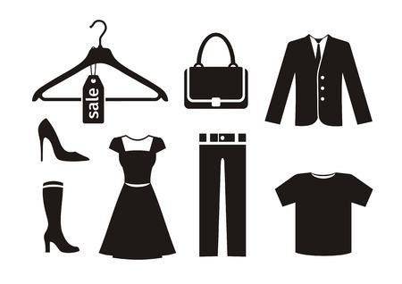 Illustration pour Clothes icon set in black - image libre de droit