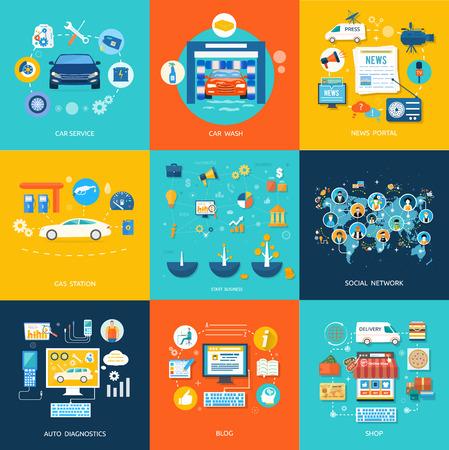 Illustrazione per Car service car wash gas station auto diagnostics. Social media and network connection concept. On line store - Immagini Royalty Free