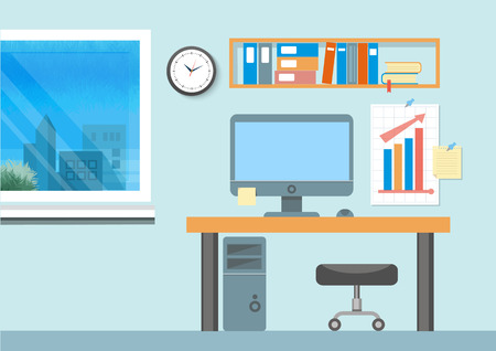 Illustration pour Modern office interior with designer desktop in flat design. Modern business workspace in the office with window - image libre de droit