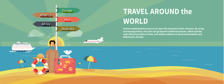 Illustration pour Icons set of traveling, planning a summer vacation, tourism and journey objects and passenger luggage in flat design. Different types of travel. Business travel concept - image libre de droit