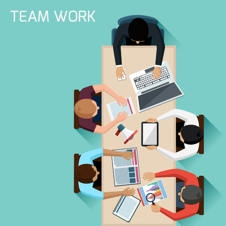 Ilustración de Office teamwork workers business management meeting and brainstorming on square table in top view flat design cartoon style - Imagen libre de derechos