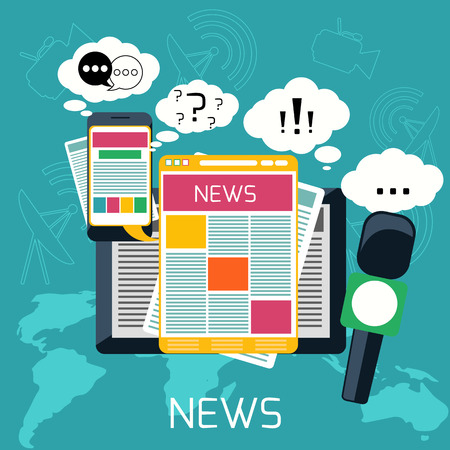 Illustration pour Mass media journalism news concept flat business icons of newspaper paparazzi profession live radio for infographics design web elements - image libre de droit