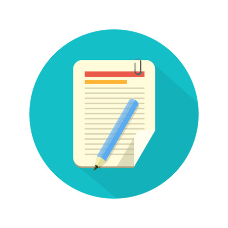 Illustration for Notebook and pencil icon with long shadow. Flat style - Royalty Free Image