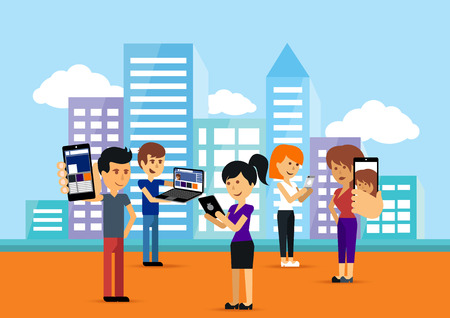 Ilustración de Young people man and woman using technology gadget smartphone mobile phone tablet pc laptop computer in social network communication concept on city town background flat design cartoon style with copyspace - Imagen libre de derechos