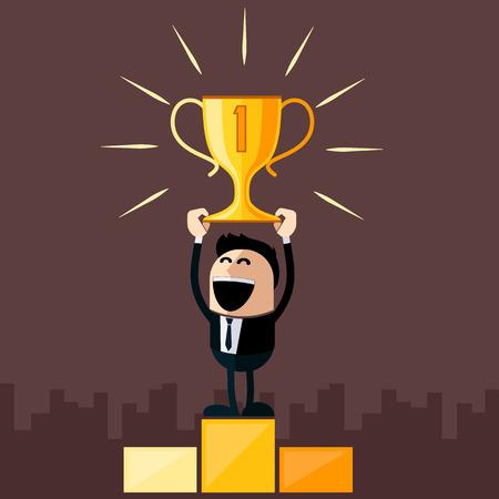 Illustration pour Happy businessman stands on pedestal holds cup overhead cartoon flat design style - image libre de droit