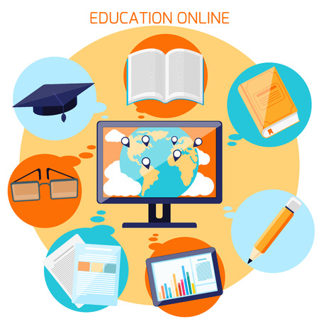 Illustration pour Concept for online education, e learning, and distance professional training with pointers on globe and education icons in flat design - image libre de droit