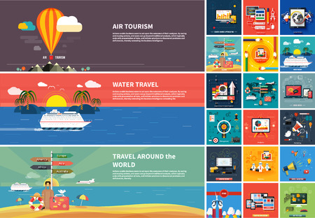 Foto de Icons for web design, seo, social media and pay per click internet advertising and icons set of traveling, planning a summer vacation in flat design - Imagen libre de derechos