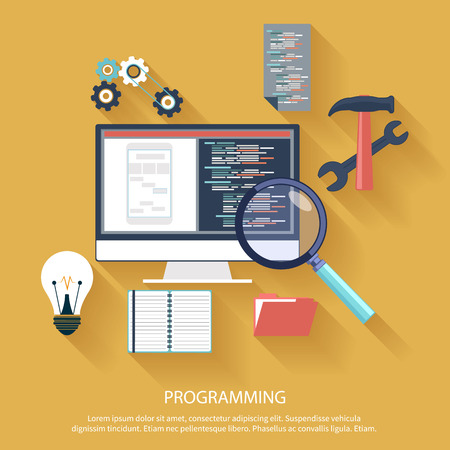 Illustration pour User programming coding in flat design stylish. Icons for application development or software app programming. Web, database, software development - image libre de droit