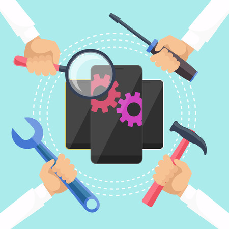 Illustration pour Mobile service concept. Smarthone with tools. Repair smart phone electronic. Hands with tools for repair phone. Flat icon modern design style concept - image libre de droit