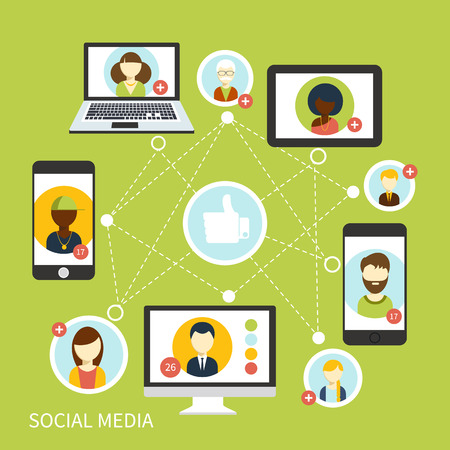 Illustration for Social media avatar network connection concept in digital device. People in a social network. Concept for social network in flat design. Globe with many different people's faces - Royalty Free Image
