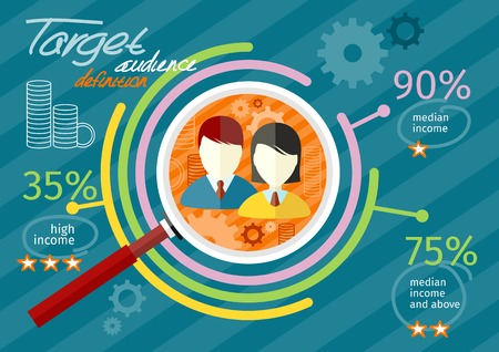 Ilustración de Target audience infographic with magnifying glass and man and woman icon inside chart. Income rating concept. Flat icon modern design style concept - Imagen libre de derechos