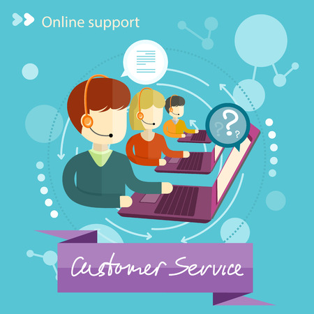 Illustration pour Customer service representative at computer in headset. Online support. Cartoon phone operator. Individual approach. Support centerand. Customer support interactivity in flat design concept - image libre de droit