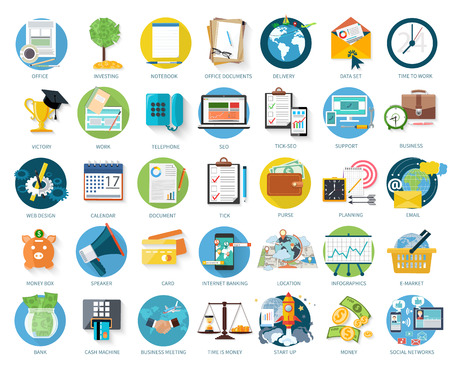 Ilustración de Set of business icons for investing, office, support in flat design isolated on white background - Imagen libre de derechos
