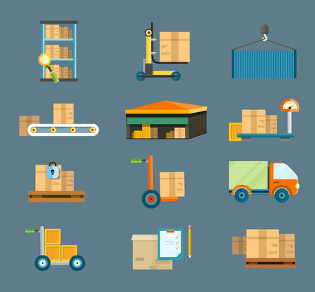 Illustration pour Set of icons warehouse distribution delivery in different locations. The technique works with boxes parcels. Delivery shipping concept in flat design - image libre de droit