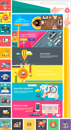 Ilustración de Management digital marketing srartup planning analytics design pay per click seo social media traveling tourism and development launch. Banners for websites flat design style - Imagen libre de derechos
