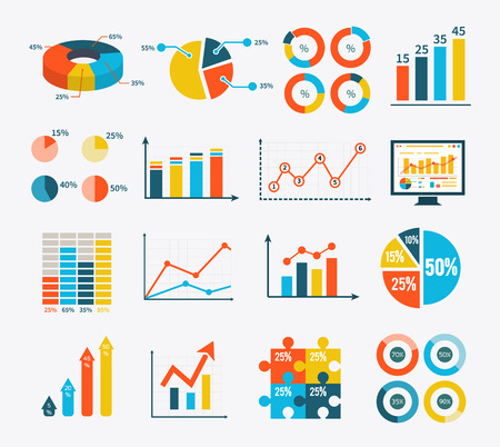 Illustration pour Big set infographic of graph, charts and diagrams. Flat infographic collection schemes in trend color. Can be used for web banners, marketing and promotional materials, presentation templates - image libre de droit