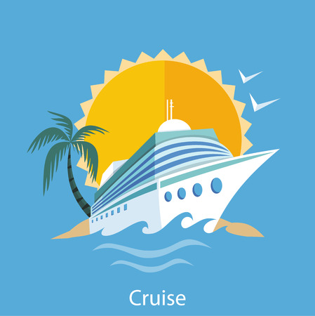 Illustration pour Cruise ship in clear blue water with palm tree - image libre de droit