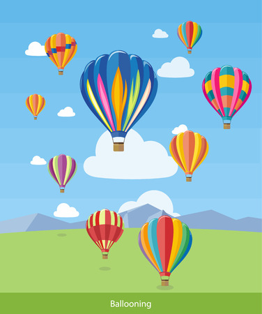 Illustration pour Colorful hot air balloons flying over the mountain. Icons of traveling, planning summer vacation, tourism and journey objects. Web banners, marketing and promotional materials, presentation templates - image libre de droit