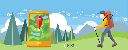 Ilustración de Man traveler with backpack hiking equipment walking in mountains. Mountain tourism concept in cartoon design style. Man with GPS navigation - Imagen libre de derechos