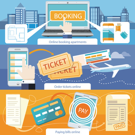 Ilustración de Paying bills payments online credit banner concept with buttons registration and about us. Online accommodation booking concept on modern technology device laptop in flat web design. Buy ticket online - Imagen libre de derechos