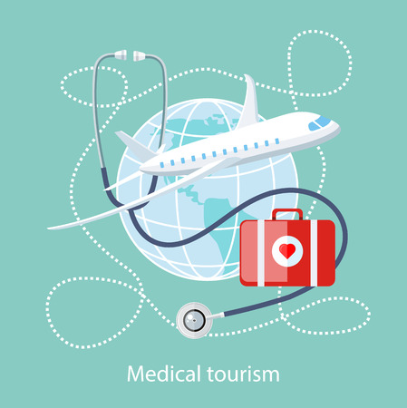 Illustration pour Flat design style modern concept of medical services abroad, along with the rest. Medical stethoscope around the globe, airplane and doctor bag with a red heart. Medical Tourism - image libre de droit